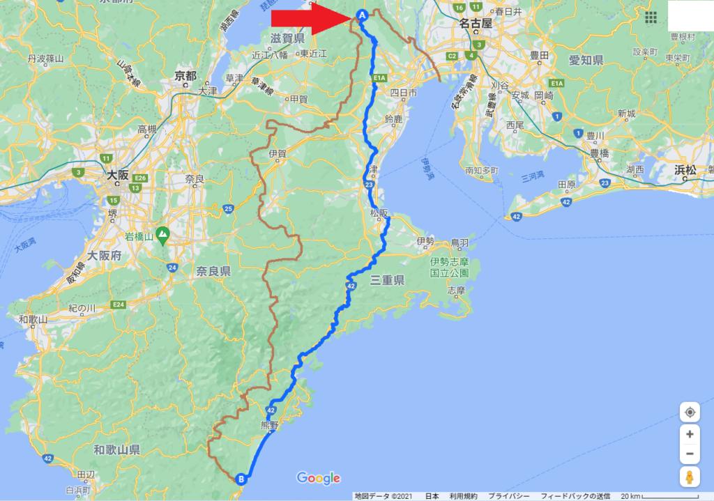 三重県縦断スタート地図